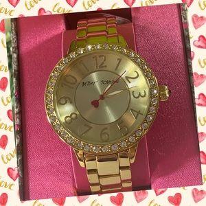 Betsey Johnson Women's Gold-Tone Bracelet Watch